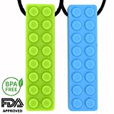 (US) Sensory Chew Necklace Chew Toy by CAMOK - Silicone Teether for Kids, Boys, Girls - Chewable Jewelry for Autism, ADHD, Oral Motor, Biting and Teething - 2 Pack (Green and Blue)