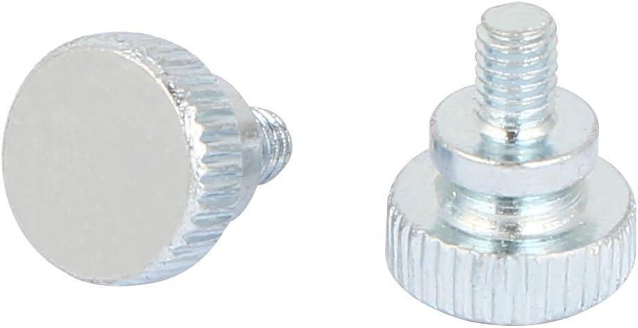uxcell M4x6mm Carbon Steel Flat Point Knurled Head Thumb Screw Silver Tone 20pcs