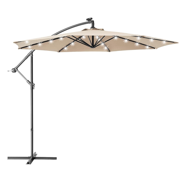 Ralawen 10 Ft Solar Patio Offset Umbrella Cantilever Umbrella