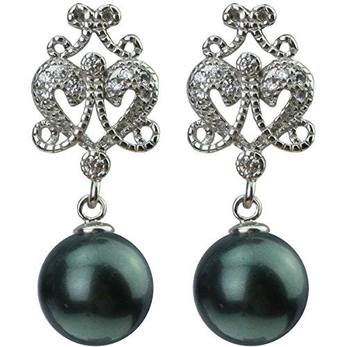 Platinum Plated Vintage Zircon Diamond 12mm Shell Pearl Drop Earring Imitate Tahitian Pearls Gold Southsea Pearl Jewelry - 12mm Pearl Diamond