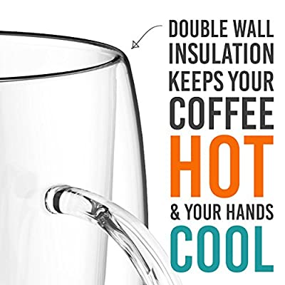 Double Wall Coffee Mug Set of 2, 13.5 oz - Dishwasher & Microwave Safe - Clear, Unique & Insulated Glass with Handle, By Elixir Glassware