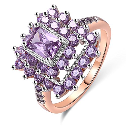 Jiangyue Women Rings Purple AAA Cubic ZirconiaRhodium Rose Gold Plated Flower Shaped Party Jewelry Size 5-10