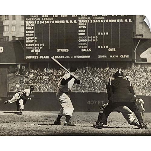 CANVAS ON DEMAND Cleveland Indians', Bob Feller, Pitching to New York Yankees' Joe DiMaggio Wall Peel Art Print.