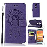 Moto E5 Plus Case, Moto E5+ Case, Moto E5 Supra Case, Love Sound [Wrist Strap] Premium Emboss Owl Wind Chime PU Leather Flip Folio [Kickstand Feature] Wallet Case for Motorola Moto E5 Plus – Purple