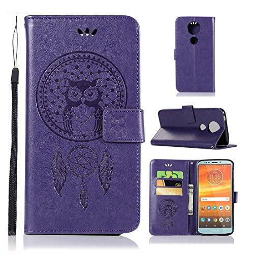 Moto E5 Plus Case, Moto E5+ Case, Moto E5 Supra Case, Love Sound [Wrist Strap] Premium Emboss Owl Wind Chime PU Leather Flip Folio [Kickstand Feature] Wallet Case for Motorola Moto E5 Plus - Purple