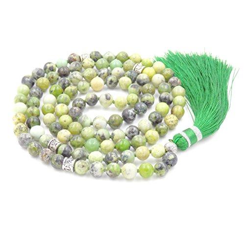 Gemstone Mala Prayer Beads Necklace, Tassel Necklace, Handmade Necklace (Australia - Jade Necklace Gemstone