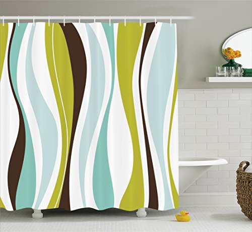Ambesonne Vintage Decor Collection, Abstract Horizontal Vibrant Shape with Various Colors Decorative Illustration Art , Polyester Fabric Bathroom Shower Curtain Set with Hooks, Green Brown Blue (Brown With Curtains Blue And)