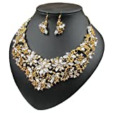 Yuhuan Women Alloy and Crystal Butterfly Necklace and Earring Set Color (Golden)