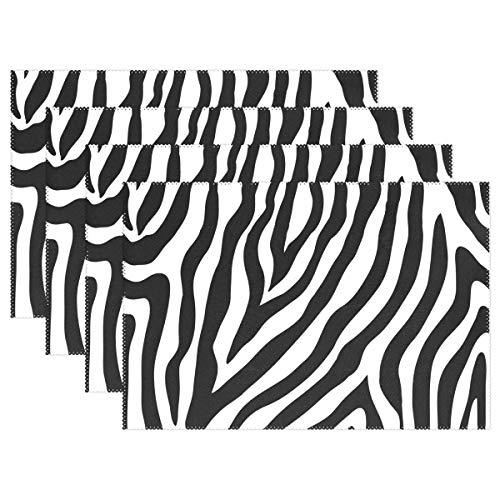 CUTEXL Place Mats Geometric Animal Zebra Print 12x18 Inch Placemats Heat Resistant Table Plate Mats Kitchen Dining Wedding Party Home - Zebra Geometric