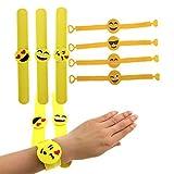 KUMEED Emoji Slap Rubber Wristband Bracelets Novelty Toy for Children Pack of 7