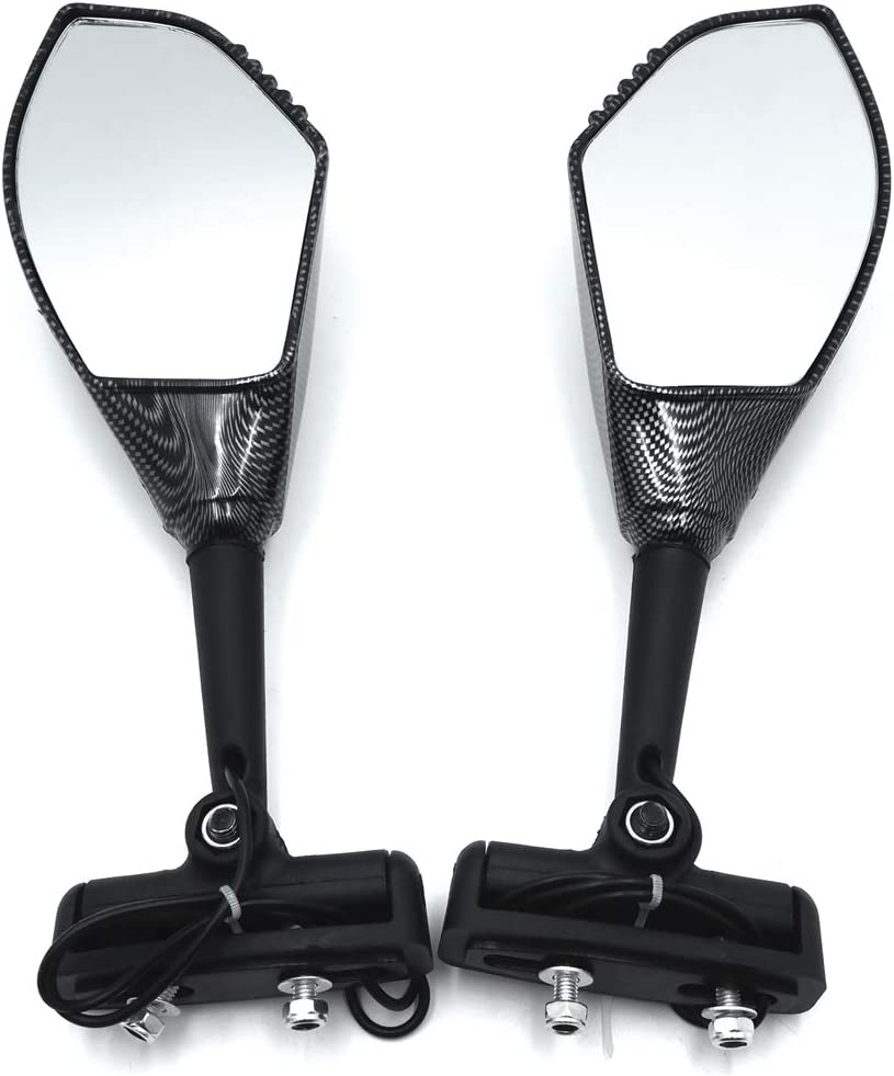 "Black round 7//8/"" bar end Blue mirrors foldable Yamaha YZF R6 R600R FZ6"