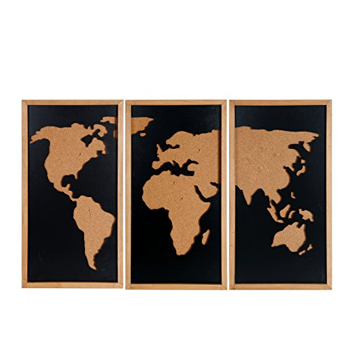 NIKKY HOME Wooden Framed World Map Pinboard and Chalkboard Wall Art Set of 3 Black -
