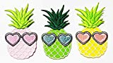Nipitshop Patches Set of 3 Fantasy Pineapple Fruit with Heart Glasses Cartoon Patch for Clothes Backpacks T-Shirt Jeans Skirt Vests Scarf Hat Bag Iron On Appliques Embroidered
