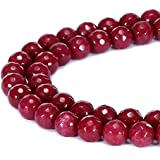 BRCbeads Gorgeous Natural Red Jade Gemstone Faceted Round Loose Beads 8mm Approxi 15.5 inch 45pcs 1 Strand per Bag for Jewelry Making