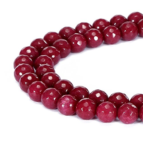 Red Jade Gemstone Necklace (BRCbeads Gorgeous Natural Red Jade Gemstone Faceted Round Loose Beads 10mm Approxi 15.5 inch 35pcs 1 Strand per Bag for Jewelry Making)