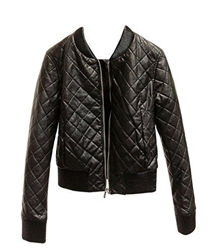negro larga de manga Chaqueta Chaquetas Moto Biker Mujer Cazadoras Cuero invierno con Imitación otoño Corta Slim de PU W6OqTR