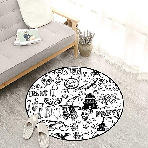 (Vintage Halloween Living Room Mat Hand Drawn Halloween Doodle Trick or Treat Party Severed Hand Design Super Absorbs Mud 4'3