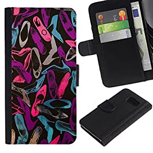 APlus Cases // Samsung Galaxy S6 SM-G920 // Stiletto Diseño trullo rosa púrpura zapatos // Cuero PU Delgado caso Billetera cubierta Shell Armor Funda Case Cover Wallet Credit Card