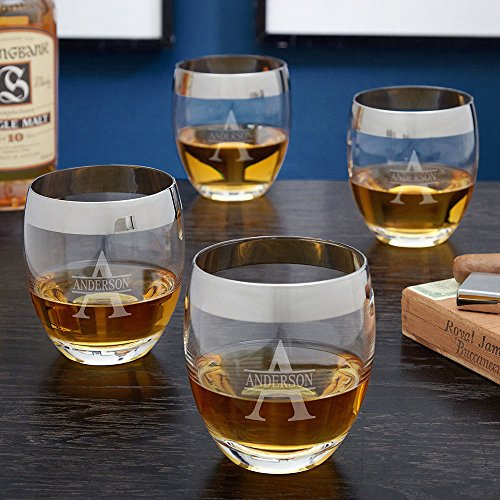 Oakmont Silver Rim Engraved Whiskey Glasses, Set of 4 (Personalized Product)