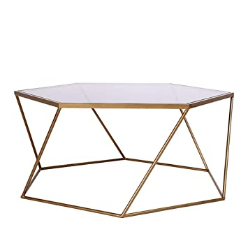 Table Basse Hexagonale En Fer Forge Plateau En Verre Trempe