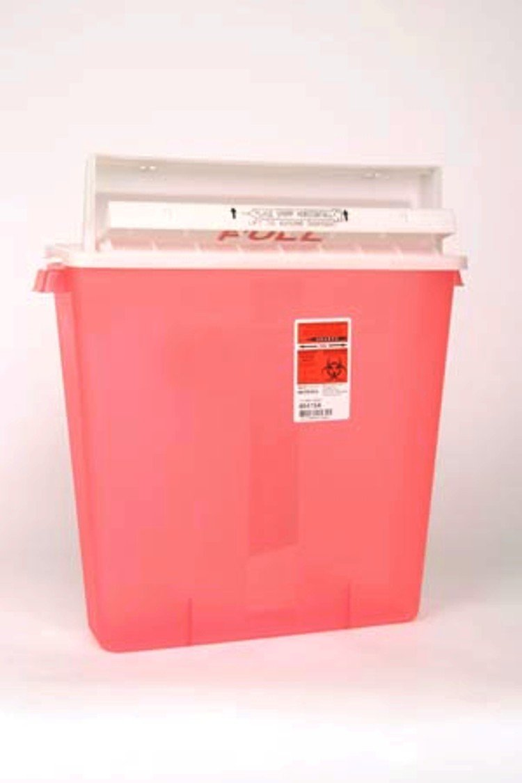 Kendall Sharps Container 3 Gallon In Room Red With Clear Top - Model 85221r