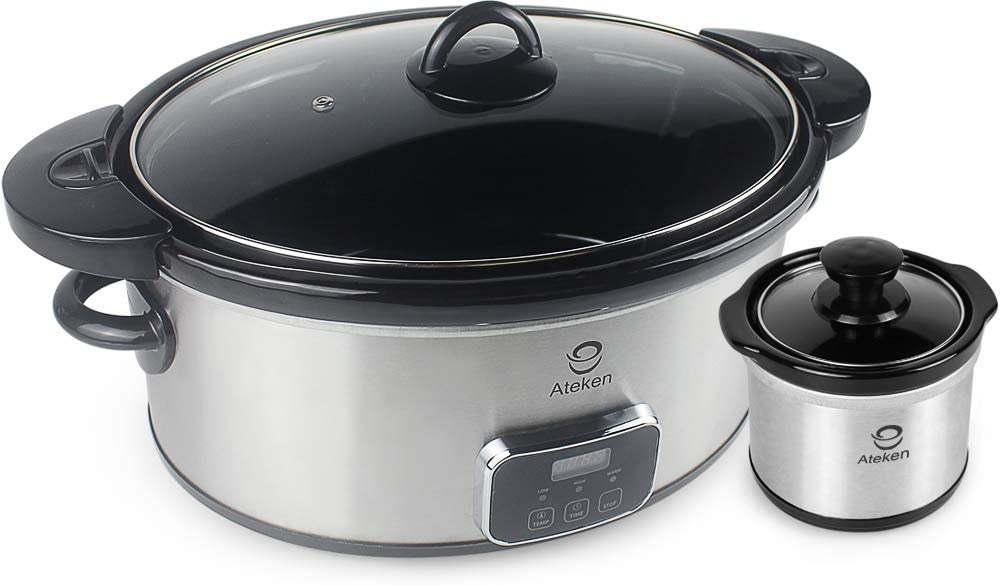 Ateken Slow Cooker 7 Quart Countdown Programmable with Locking Lid for Easy Transport Stainless Steel Set(Included 1x7QT+1x0.65QT)