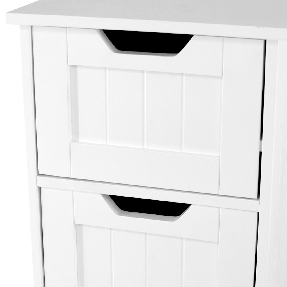 Home discount bathroom 4 drawer floor standing cabinet unit storage wood new ebay for Cheap bathroom storage cabinets