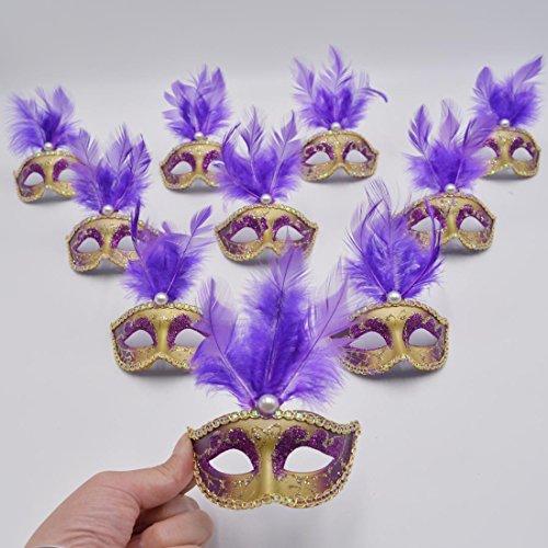 Small Masquerade Mask Party Decoration - Yiseng 12pcs Mini Mardi Gras Mask Halloween Costume Novelty Gifts Purple (Venetian Mask With Pearl)
