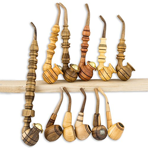 Set of 11pcs Custom Wooden Pipes for Smoking – Churchwarden Tobacco – Handmade of Natural Wood