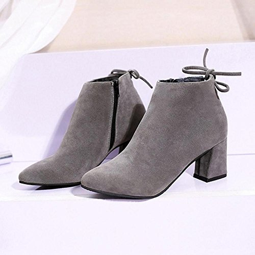 6 5cm Ladies Shoes Casual Gray Women FTXJ Heels Boots Bootie Ankle With Square pqy0a8
