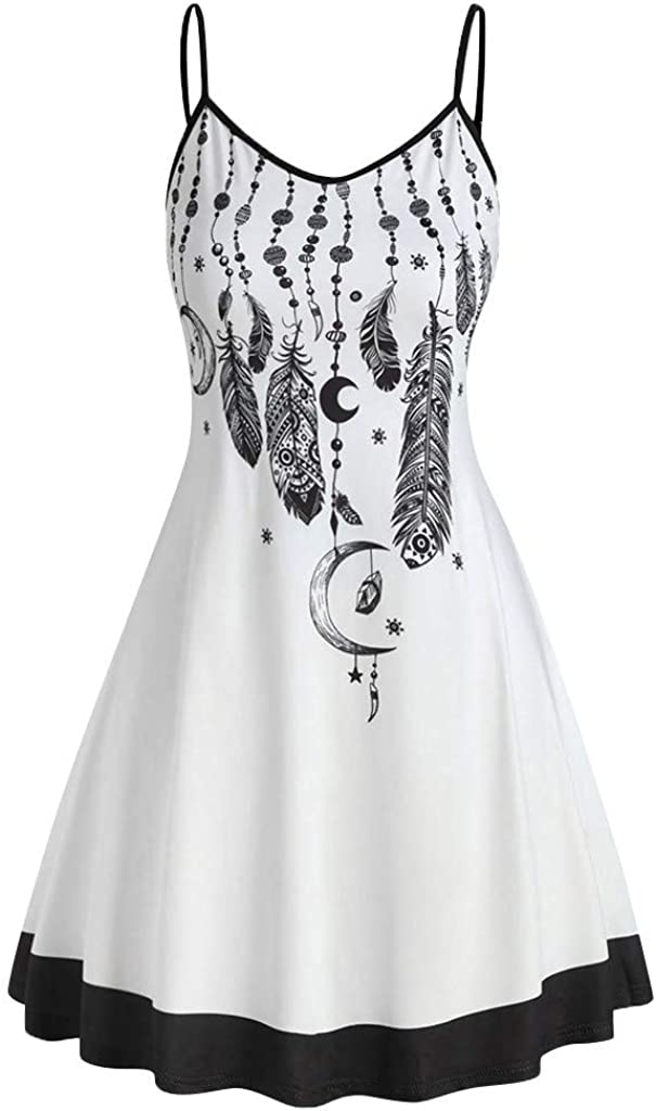 riou Vestido Mujer Bohemio Casual Playa Largos Verano con Estampado Floral Mini Vestido Falda sin Mangas Chic de Noche Playa Vacaciones