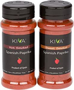 (2 PACK) HOT + SWEET SMOKED Spanish Paprika - Kiva Gourmet - From The Famous La Vera Region of Spain - 4 oz Total WT