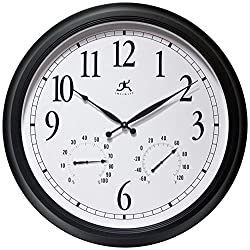 Infinity Instruments 24 inch Black Wall Clock Classic Outdoor (Outdoor)