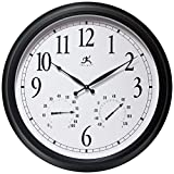 Infinity Instruments 24 inch Classic Black Humidity Round Wall Outdoor Indoor Thermometer Clock Hygrometer | for Patio, Pool, Garage, Large, White