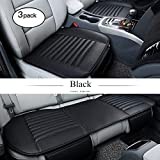 HCMAX Car Interior Seat Cushion Cover Pad Mat for Auto Car Supplies PU Leather Bamboo Charcoal [Without Backrest] - 2+1 Front & Rear Seat Covers