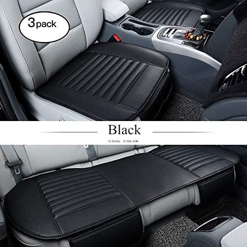 Honcenmax Auto Sitzauflage Sitzkissen Universal Sitzauflagen Autositzbezüge Bambuskohle Pu Leder Ohne Rückenlehne 2 1 Vorder Und Rücksitzbezüge Auto