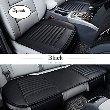 Car Bamboo Charcoal Seat Cushion Interior Seat Cover Breathable Mat Pad Black PU