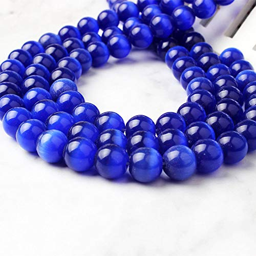 (Hophen 3 Strands 4mm Royal Blue Cat's Eye Stone Beads for Jewelry Making (95pcs/Strand))