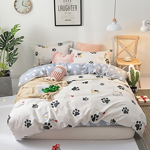 BHUSB Cute Kids Cartoon Cotton Duvet Cover Queen Set Dog Paw Print 3 Piece Animal Bedding Sets Full White Gray Boys Girls Teens Bedding Collection Hidden Zipper,4 Corner Ties by BHUSB (Image #1)