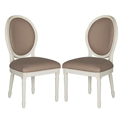 Attirant Safavieh Home Collection Holloway French Brasserie Taupe Linen U0026 Cream Oval  Side Chair (Set Of