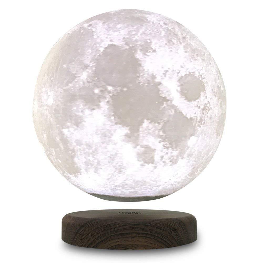 TOOGOO 3D Printing Maglev Magnetic Levituna Moon LED Night light Wired Power 360 Rotation Floating Decorative Light 15cm (US Plug)