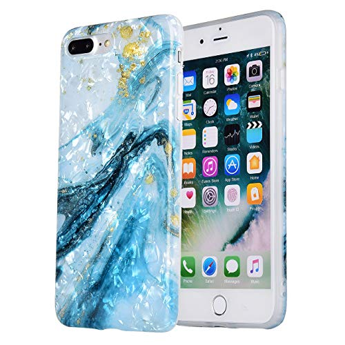 (iPhone 7 Plus Case Marble iPhone 8 Plus Case Cute Girls Women [Tinfoil] Pearly Glitter TPU Silicone Case Protective Phone Case for iPhone 7/8 Plus (Blue White Marble))