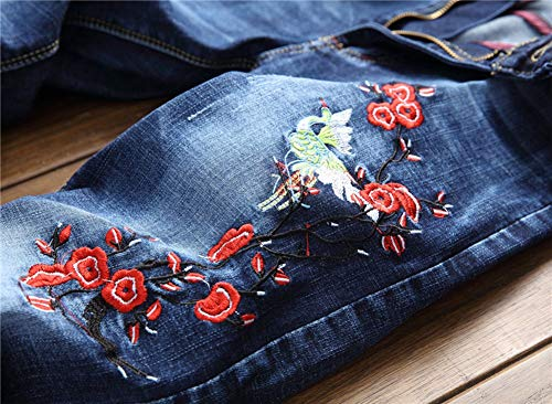 Vita Della bomba Micro Dritto Slim Vestibilità Ricamo Color Jeans Maschi Pantaloni 1 Metà Versaces Piedi nz4A0wq8ZW