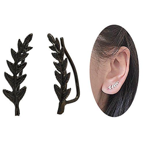 Leaf Crawler Cuff Earrings, Olive Leaf - 925 Sterling Silver with 18K Black Gold (Black & Gold Leaf Earrings)