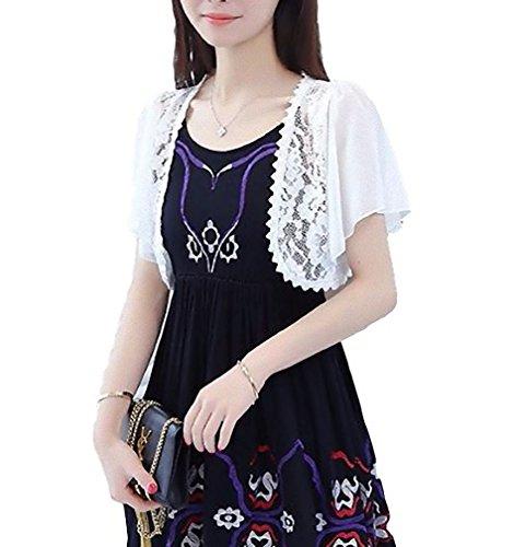 [Nana_Collection(ナナコレクション)] 春 薄手 透け感 シフォン レース 白 黒 半袖 カーディガン 女性