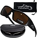 Fishoholic Polarized Fishing Sunglasses w Free Hard Case & Lens Cleaning Pouch UV400 100% UV Protection. Great Gift to Fish River Lake Bass Saltwater & Flyfishing (R) TM (Matte Black, Amber)