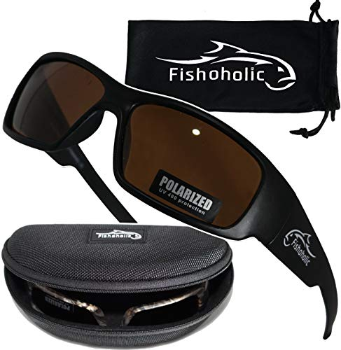 Fishoholic Polarized Fishing Sunglasses w Free Hard Case & Lens Cleaning Pouch UV400 100% UV Protection. Great Gift to Fish River Lake Bass Saltwater & Flyfishing (R) TM (Matte Black, Amber) (Free Amber Lens)