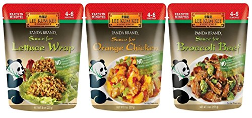 Panda Brand Ready In Minutes Asian Stir Fry Sauce 3 Flavor Variety Bundle: (1) Broccoli Beef, (1) Orange Chicken, and (1) Lettuce Wrap, 8 Oz. Ea. (3 Pouches Total)
