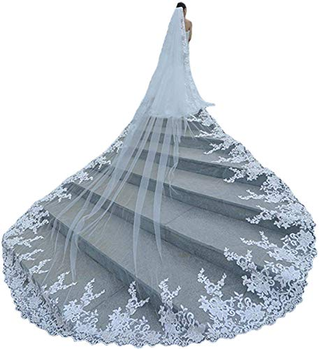 (Faithclover Wedding Veils Long Cathedral Full Floral Lace Egde 1 Tier with Comb)