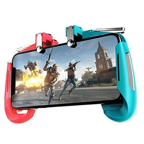 ICALL Name Of TRUST Red & Blue AK16 PUBG Trigger Controller, Mobile Gamepad Joystick Holder – 4 Fingers Trigger Button for Android phone iOS High Sensitive Fast Fire Shooting Triggers in Survival